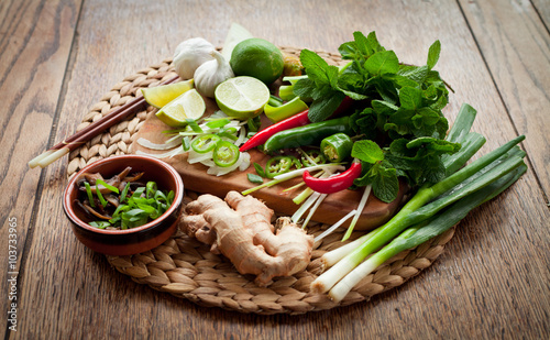 Cuadros en Lienzo asian food cooking board ingredients lime chili
