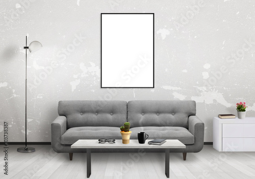 Foto op Aluminium Wand Isolated vertical art frame. Living room interior with sofa, lamp, cabinet, table, glasses, book, coffee.