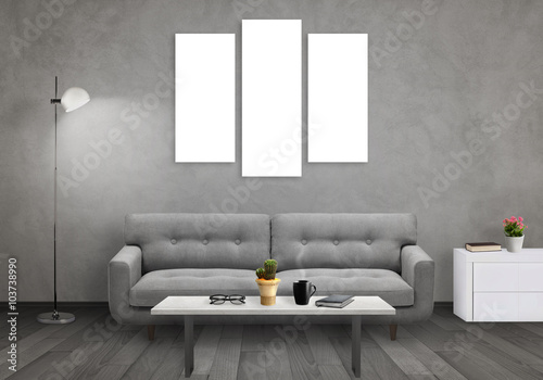 Foto op Aluminium Wand Isolated wall art canvas on gray wall. Living room interior with sofa, lamp, cabinet, table, glasses, book, coffee.