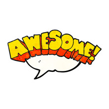 Speech Bubble Textured Cartoon Word Awesome