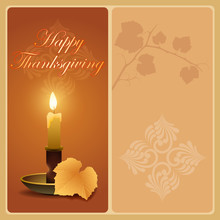 Holidays, Vintage, Graphic Background With Vine Leave In Autumn Color Tones, Candle Light And A Branch Of The Vine For Celebration Of Thanksgiving Day