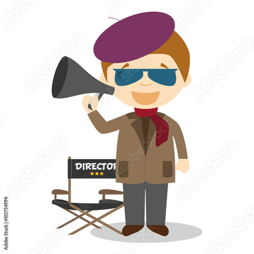 Fotografie, Obraz  Cute cartoon vector illustration of a filmmaker