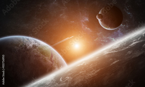 Fototapety, obrazy: Sunrise over group of planets in space
