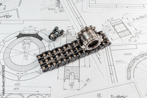 Photo  Engineering drawing and manufacturing technology chain and sproc