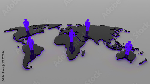 3d black world map with people and blue purple light buy this 3d black world map with people and blue purple light gumiabroncs Choice Image