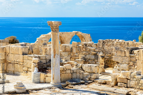 In de dag Cyprus Limassol District. Cyprus. Ruins of ancient Kourion