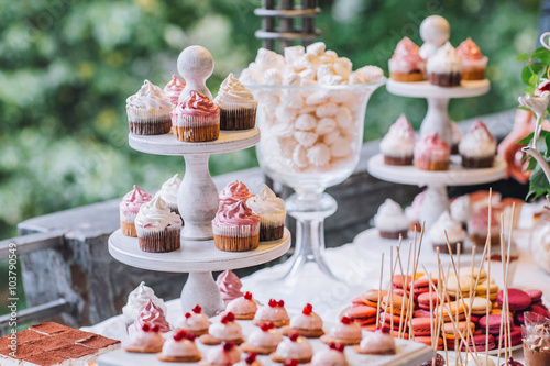Delicious Wedding Cake and Candy Bar