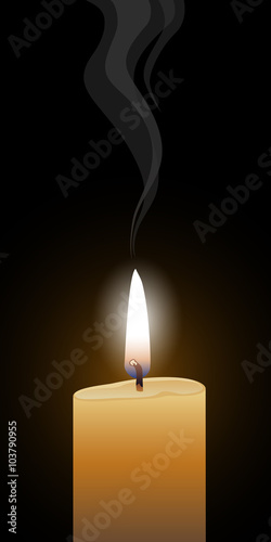Candle Burning is an illustration of a single burning candle with glowing flame and a black background.