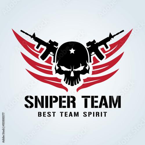 Fotografija sniper team logo,skull logo,tattoo logo,vector logo template