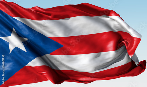 Photo Stands United States Realistic waving national flag for Puerto Rico
