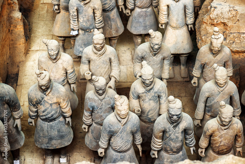 Top view of terracotta soldiers of the famous Terracotta Army
