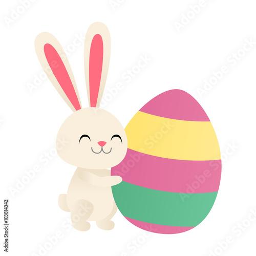 Fotografie, Obraz  Bunny hugging an Easter egg