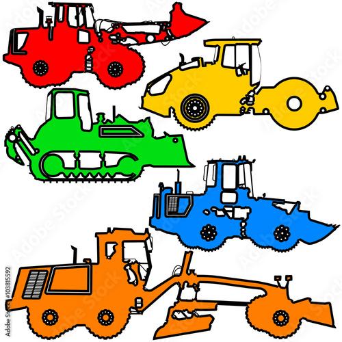 Poster de jardin Route Set color silhouettes road construction equipment. Vector illustration