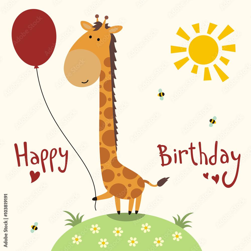 Happy Birthday Card Vector Funny Little Giraffe With Balloon Handwritten Text Foto Poster Wandbilder Bei EuroPosters