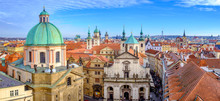 Panoramic Citiscape Of Prague Viewed From Charles Bridge