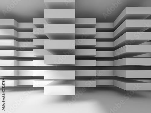Obraz Biała współczena architektura, betonowa ściana 3D - fototapety do salonu
