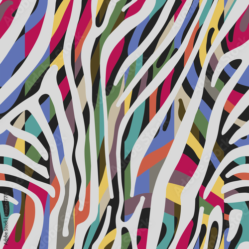 Cotton fabric Background with colorful Zebra skin pattern