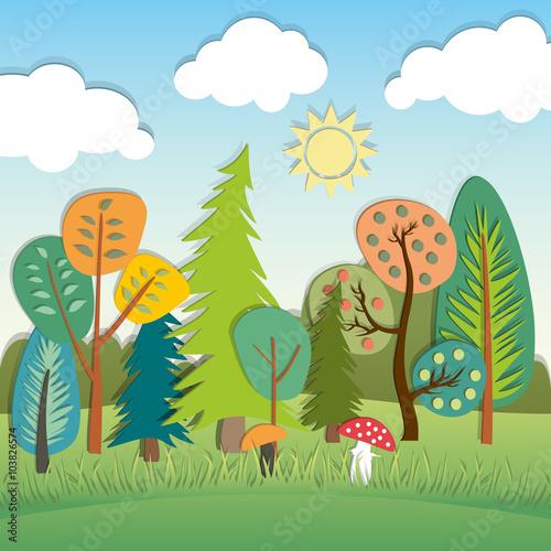 Poster Lime groen Summer cartoon landscape