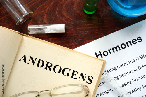 Photo Hormone androgens written on book. Test tubes and hormones list.