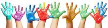 Kinder Winken Mit Vielen Bunten Händen