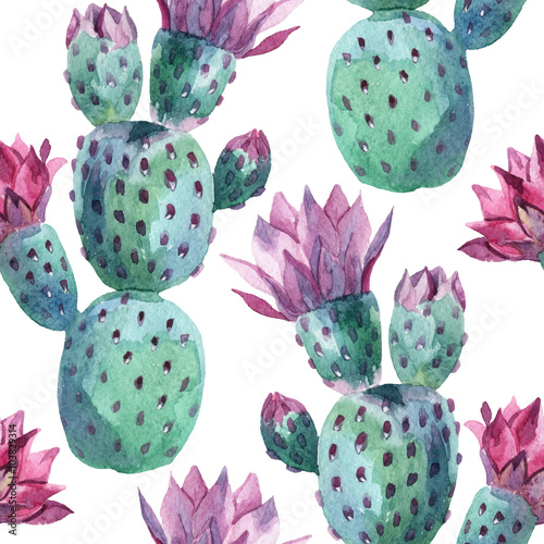 Tuinposter Aquarel Natuur Watercolor seamless cactus pattern