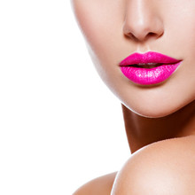 Female Lips With Pink Lipstick. Closeup. Half Face