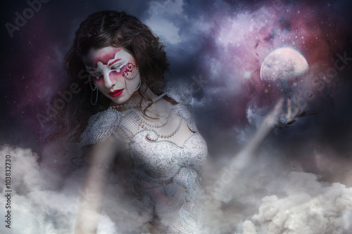 Mysterious Warrior Witch With Moon In His Hand In The Storm Buy