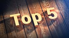 Word Top 5 On Wood Planks