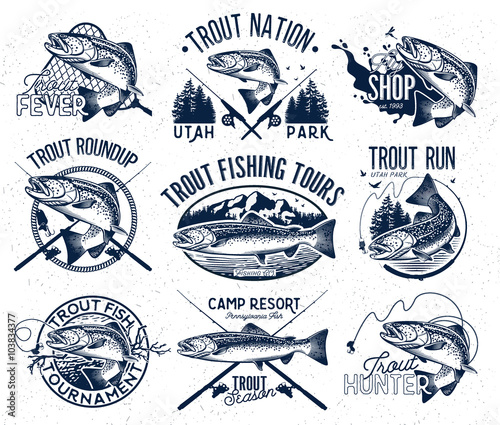 Leinwand Poster Vintage trout fishing emblems