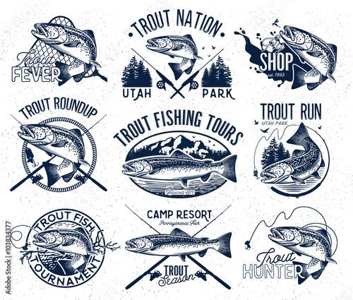Obraz na płótnie Vintage trout fishing emblems