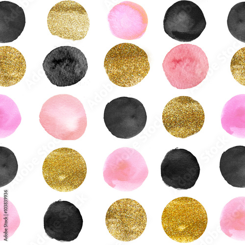 Cotton fabric pattern of watercolor and gold dots