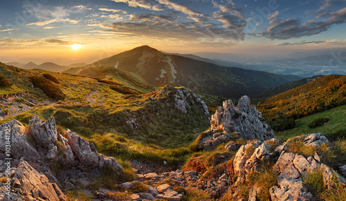Plakaty do salonu  slovakia-mountain-from-peak-chleb