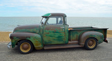 Classic Pickup Truck With Some Rust On Felixstowe Seafront.
