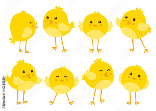 Tablou Canvas Set of cute cartoon chickens