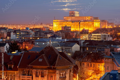 Платно  Bucharest Aerial View of Parliament Palace at Sunset.