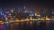 night illumination shanghai old city bay roof top aerial panorama 4k time lapse china