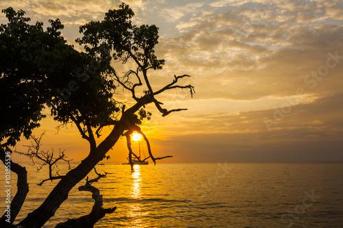 Foto op Aluminium Strand Beautiful sunset on a tropical island. Koh Chang. Thailand.
