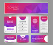 Set of pink corporate style polygonal
