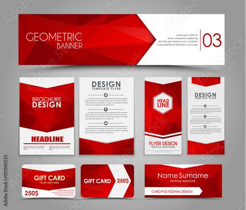Fototapeta Set of red corporate style polygonal obraz