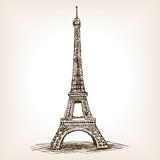 Fototapeta Fototapety z wieżą Eiffla - Eiffel Tower hand drawn sketch style vector