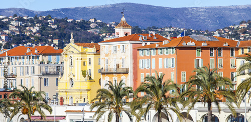 Poster de jardin Nice NICE, FRANCE, on JANUARY 13, 2016. City landscape. Promenade des Anglais. Winter day.