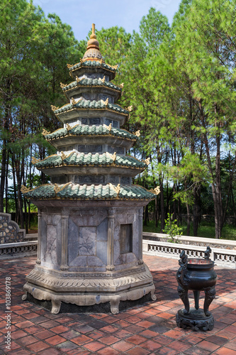 Photo  Small tower near Thien Mu Pagoda in Hue,  Vietnam