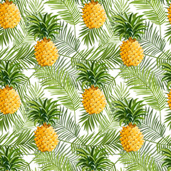 Panel Szklany Abstrakcja Tropical Palm Leaves and Pineapples Background - Seamless Pattern