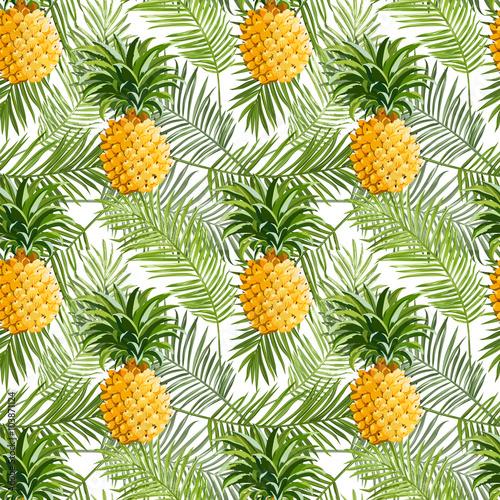 tropikalna-lisci-palmowych-i-ananasy-tlo-bez-szwu