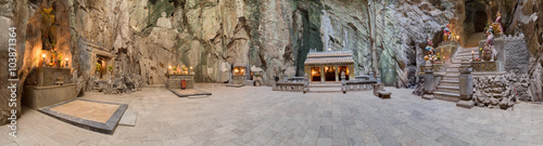 Panorama of Huyen Khong Cave with shrines, Marble mountains,  Vietnam