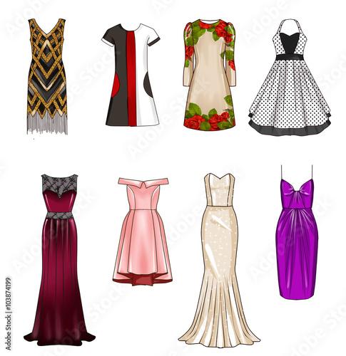 Set Of Fashion Flat Templates Sketches Woman Dresses Short And Medium Length