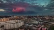 sunset pink cloud minsk city roof top panorama 4k time lapse belarus
