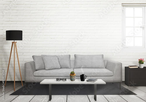 Foto op Aluminium Wand Room interior with free space on the wall for picture. Window, sofa, lamp, plant and table inside.