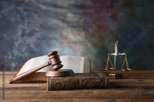 Law theme, mallet of judge, wooden gavel, books Wallpaper Mural