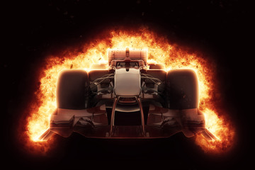 Fototapeta Formuła 1 3D race car with fiery explosion effect
